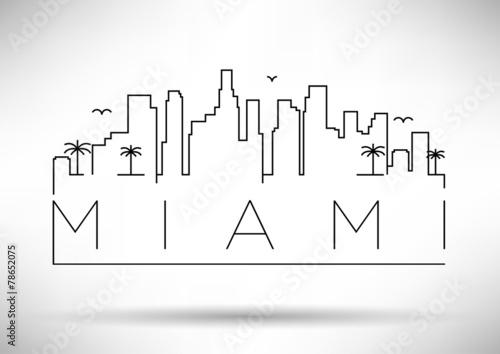 Photo  Miami City Line Silhouette Typographic Design