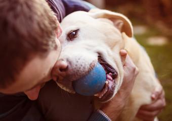 Fototapeta Man and dog