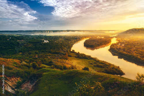 Fotobehang Zwavel geel beautiful scenery of river Dniester