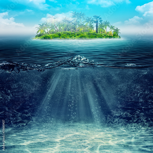 Spoed Foto op Canvas Eiland Underwater. Abstract vacation backgrounds for your design