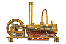 Vintage Steam Engine Isolated On White