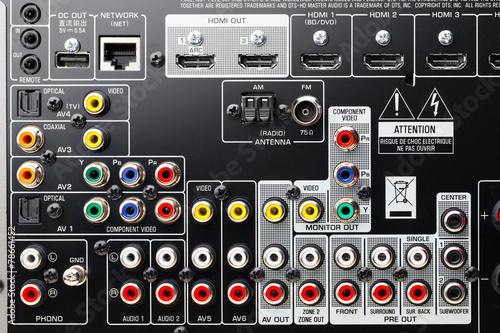 Cuadros en Lienzo connectors panel of audio surround receiver amplifier