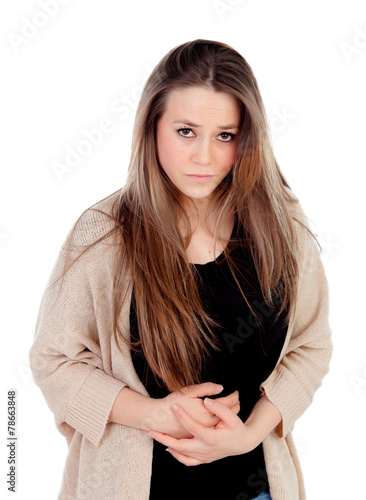 Αφίσα  Blonde young girl with with stomach pain