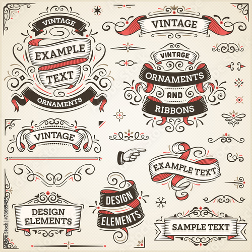 Plakaty vintage   vintage-ornaments-and-ribbons