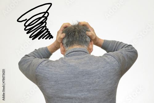 Fotografie, Obraz  悩んでいる60代の男性