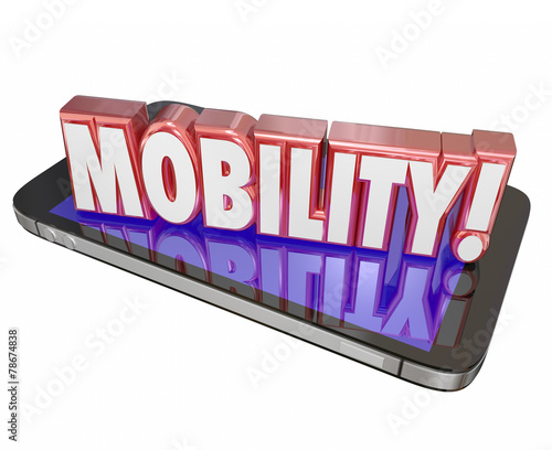 Fotografie, Obraz  Mobility 3d Word Cell Mobile Phone New Technology Portable On th