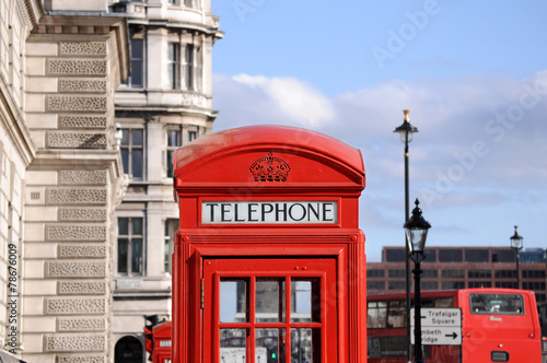 Red telephone box and double decker bus in London