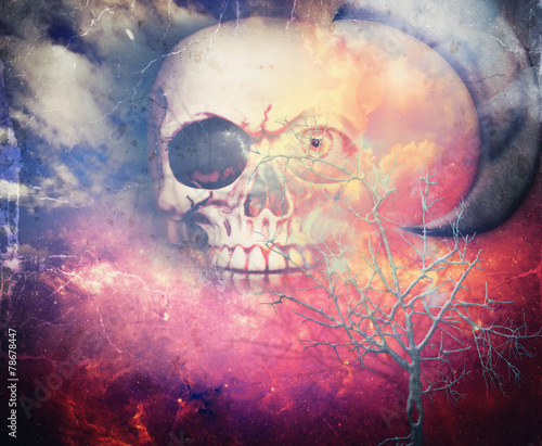 Door stickers Imagination Fearful sky with death and moon