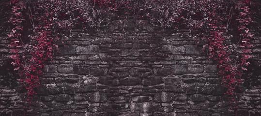 Fototapeta Struktura ściany Old brick wall with red plants