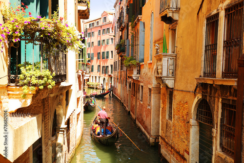 Wall Murals Central Europe Venice. Canal with gondolas, Italy