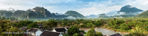 Photo View for panorama in Vang Vieng, Laos.