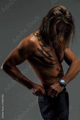 Fotografie, Obraz  Long hair man wit naked torso.