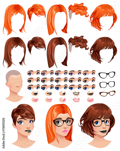 Poster Chambre d enfant Fashion female avatars