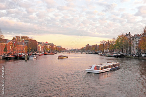 City scenic from Amsterdam in the Netherlands at twilight Canvas Print