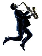 Man Saxophonist Playing Saxoph...