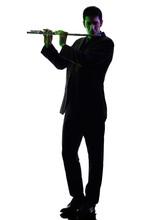 Man Playing  Transverse Flute Player  Silhouette