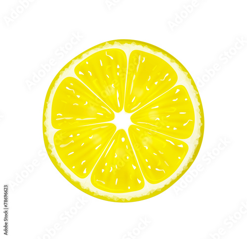 Fotografía  Slice of fresh citrus lemon isolated on white background