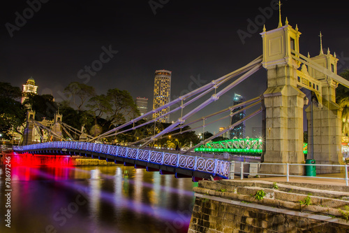 Photo  The Cavenagh Bridge at Night Singapore