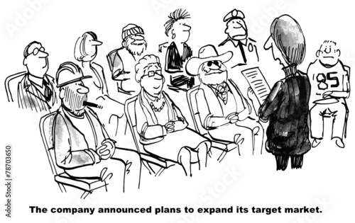 Keuken foto achterwand Muziekband Cartoon of business expanding target market to everyone.