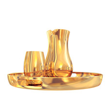 Golden Pitcher On A Tray. Whit...