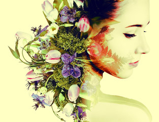 Fototapeta Inspiracje na lato Double exposure portrait of young woman with bouquet of flowers.