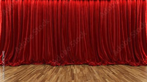 Plakat 3d renderingu teatru scena z czerwoną zasłoną i drewnianą podłoga