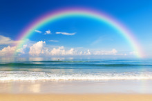Beautiful Sea With A Rainbow In The Sky