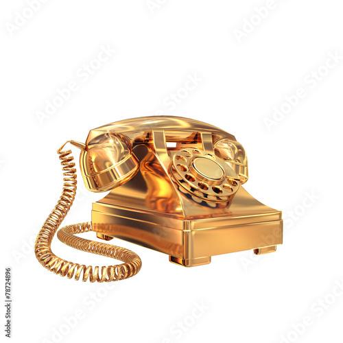 Foto op Canvas Schepselen Golden phone on white isolated background.