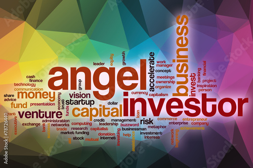 Fotografía  Angel investor word cloud with abstract background