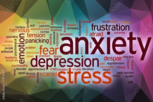 Stampa su Tela Anxiety word cloud with abstract background