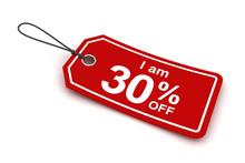 I Am 30 Percent Off Sale Tag, 3d Render