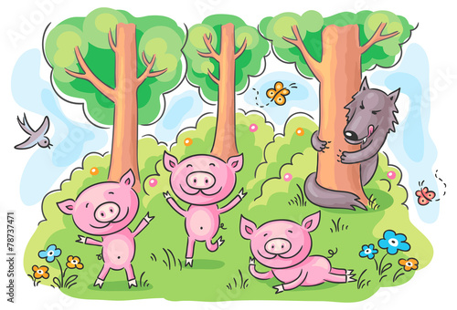 Three little pigs fairy tale Poster