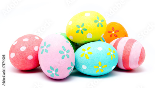 Photo  Colorful handmade easter eggs isolated