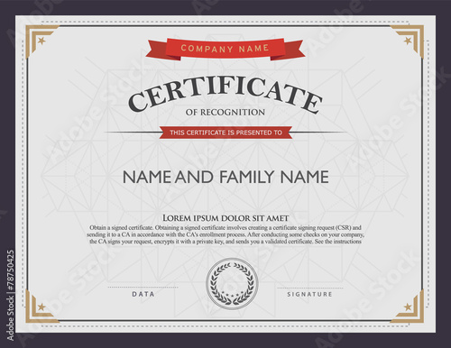 Photo  certificate template and element.