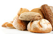 Different fresh bread, isolated on white