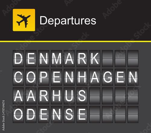 Photo Denmark flip alphabet airport departures, Copenhagen