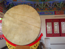 Closed Up The Chinese Drum In Temple