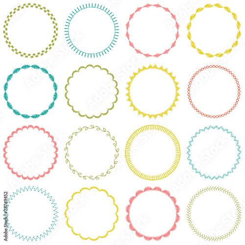 Fotografie, Obraz  embroidered circle frames