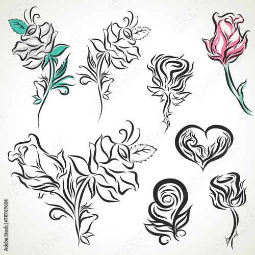 7cdb248d0 Rose of tribal tattoo set - Buy this stock vector and explore ...