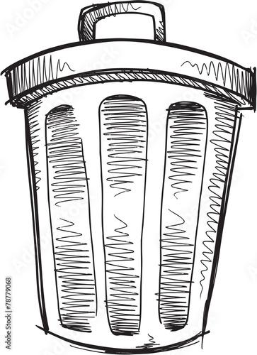 Garden Poster Cartoon draw Doodle Sketch Trash Can Vector Illustration Art