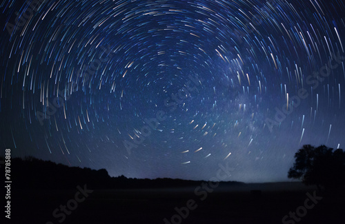 Foto op Plexiglas Nacht a beautiful night sky, Milky Way, star trails and the trees