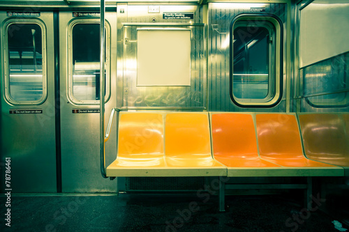 Vintage toned image of New York City subway car Plakát