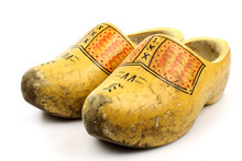Pair Of Traditional Dutch Yellow Wooden Shoes Seen From Above  O