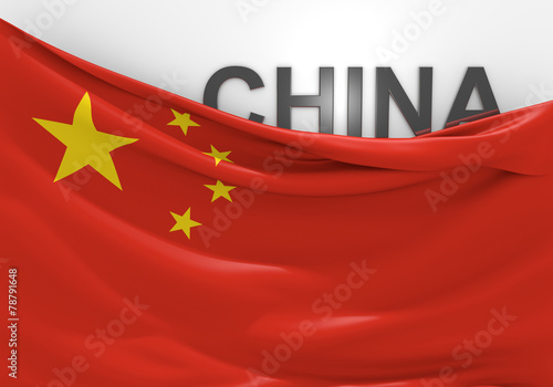 Photo  China flag and country name