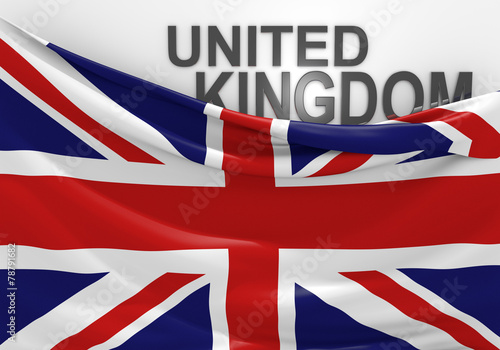 Fotografie, Obraz  United Kingdom flag and country name