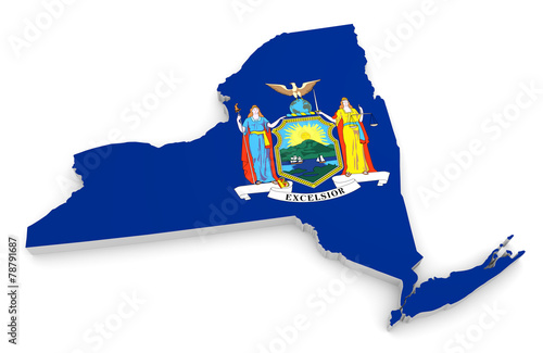 3D geographic outline map of New York with the state flag