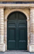 Old Wooden Front Door Painted Black In Paris
