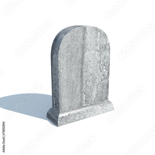 Fotografia Gravestone with shadow isolated on white background