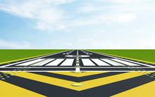 Modern Airport Runway In Lands...