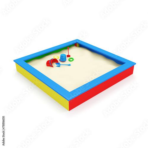 Fotografie, Obraz  Children's Sandbox with Toys isolated on white background